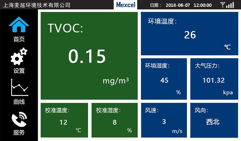 TVOC 在线报警监测系统软件界面.